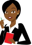 Cartoon-Of-A-Black-Or-Indian-Businesswoman-With-A-Pen-And-Notepad-Royalty-Free-Vector-Clipart